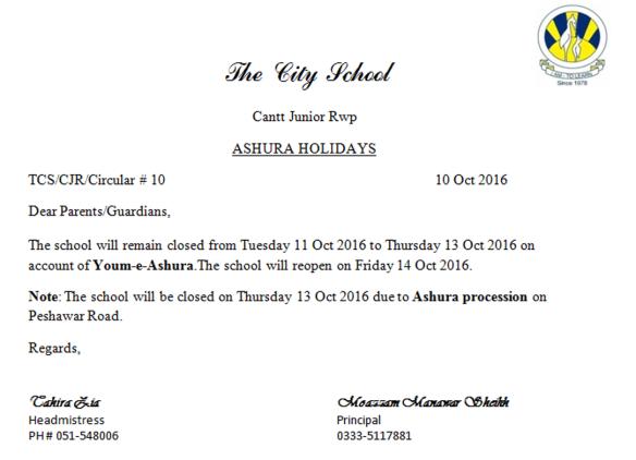 Ashura Holidays Circular | The City School Cantt Junior